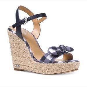 Michael Kors Gingham Wedge Sandals,Size 7.5 M, NWT